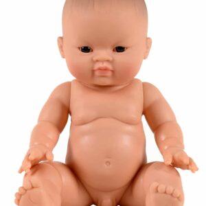 Petit garçon d'Asie aux yeux foncés – 34cm – Sans cheveux – Yeux noirs Poupée en vinyle et parfumée à la vanille.