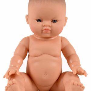 Petite fille d'Asie aux yeux clairs – 34cm – Sans cheveux – Yeux bleus Poupée en vinyle et parfumée à la vanille.