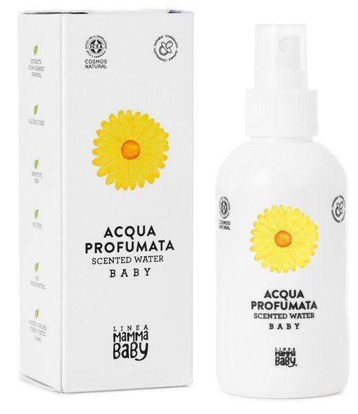 eau corporelle au parfum de talc et aux extraits biologiques de calendula, rafraîchit la peau, donne une sensation immédiate de douceur et de propreté
