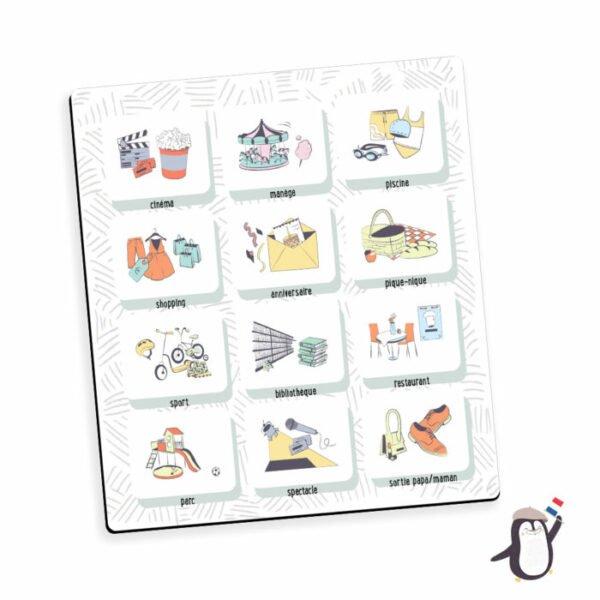 """Les magnets """"sorties """" viennent en complément de l'organisateur mensuel familial """"notre organisateur mensuel"""" et du semainier """"ma petite semaine""""."""